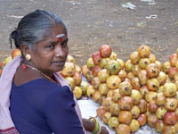 Woman at a produce market in the city of Chennai, India.